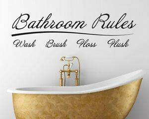 Attirant Image Is Loading Bathroom Rules Vinyl Wall Decal Words Lettering Quote