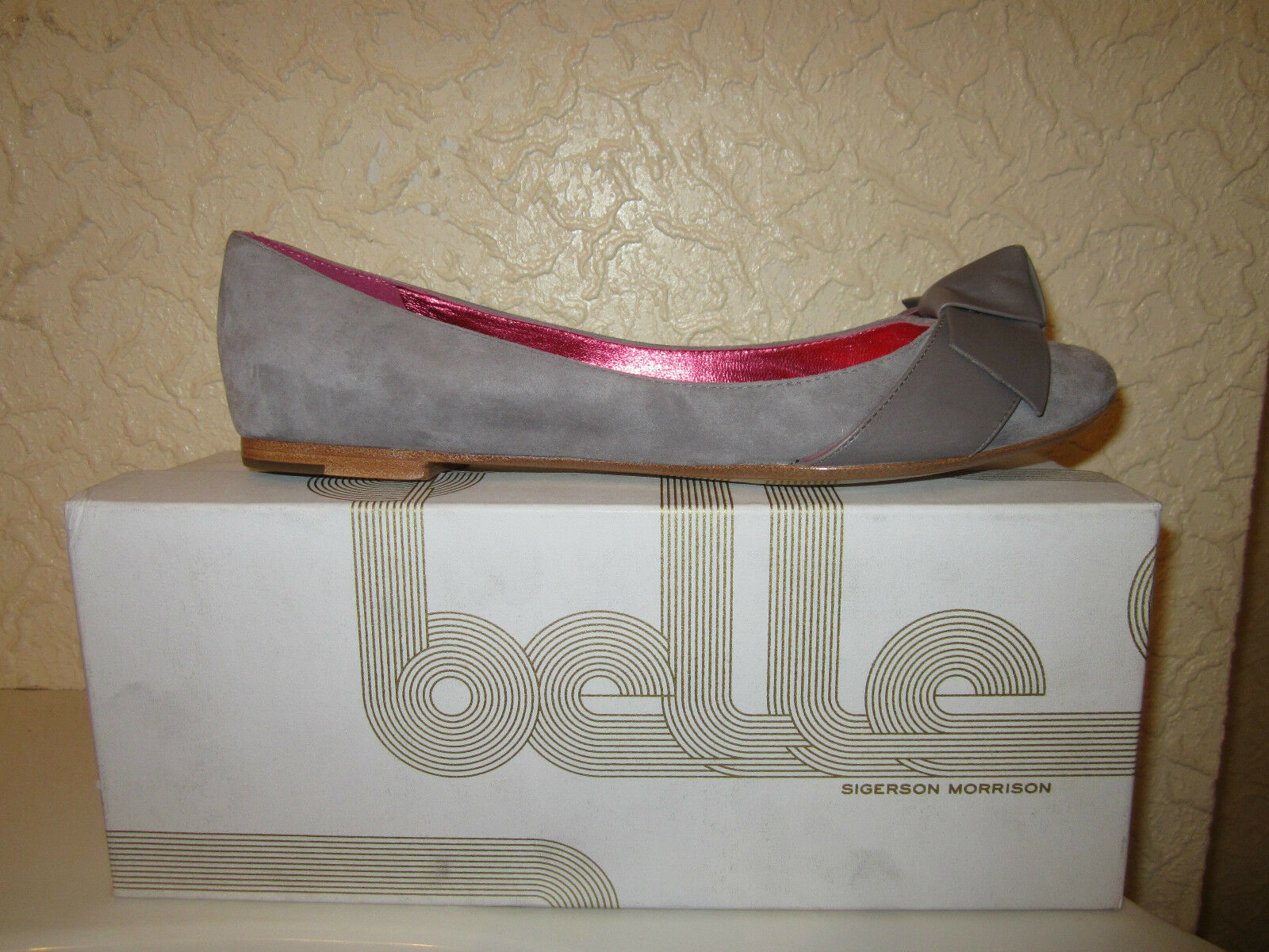 Belle by Sigerson Morrison leather-bow daim ballerines