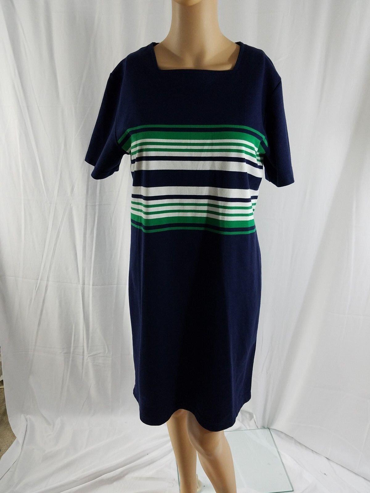 CC Hughes Robe mi-longue en tricot à manches longues pour femmes, bleu marine, vert blanc et blanc, taille M