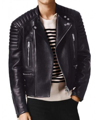 Men Leather Jacket Motorcycle Black Slim Fit Biker Leather Jacket