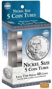 Nickel-Size-5-Round-Plastic-Coin-Tubes-with-Screw-Lid-by-Whitman-28842