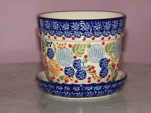 Genuine UNIKAT Polish Pottery Small Flower Pot with Saucer! Paper Lanterns!