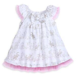 DISNEY STORE WINNIE POOH FANCY DRESS BABY SCENE PRINT WITH TULLE TRIM DETAILS