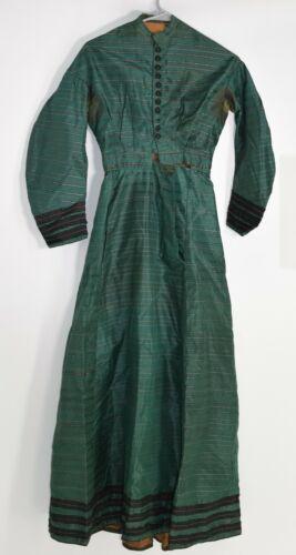 Victorian 1860's Green Fancy Silk Dress /  Gown -