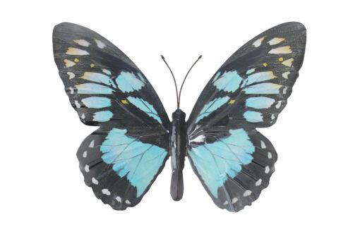 Large Métal papillon bleu clair et noir jardin extérieur Home Decor Wall Art