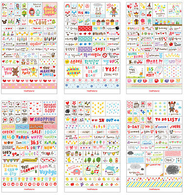 Lots 6 Sheets Cute Word Phrases Diary Album Sticker Calendar Card Scrapbooking