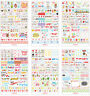 Lots 6 Sheets Cute Word Phrases Diary Album Sticker Calendar Card Scrapbooking