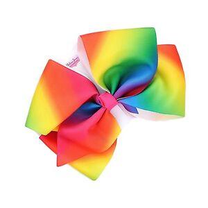 100% De Qualité Grand (18 Cm) Lumineux Multicolores/arc-en-gros-grain Nœud Ruban Sur Clip MatéRiaux De Qualité SupéRieure