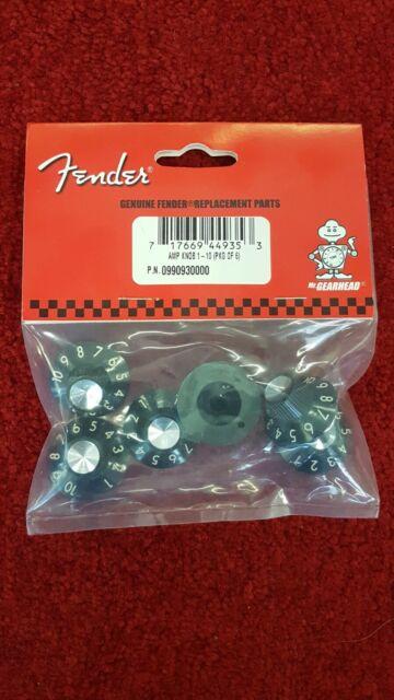 Pack of 6 Black Fender 099-0930-000 Skirted Amp Knobs