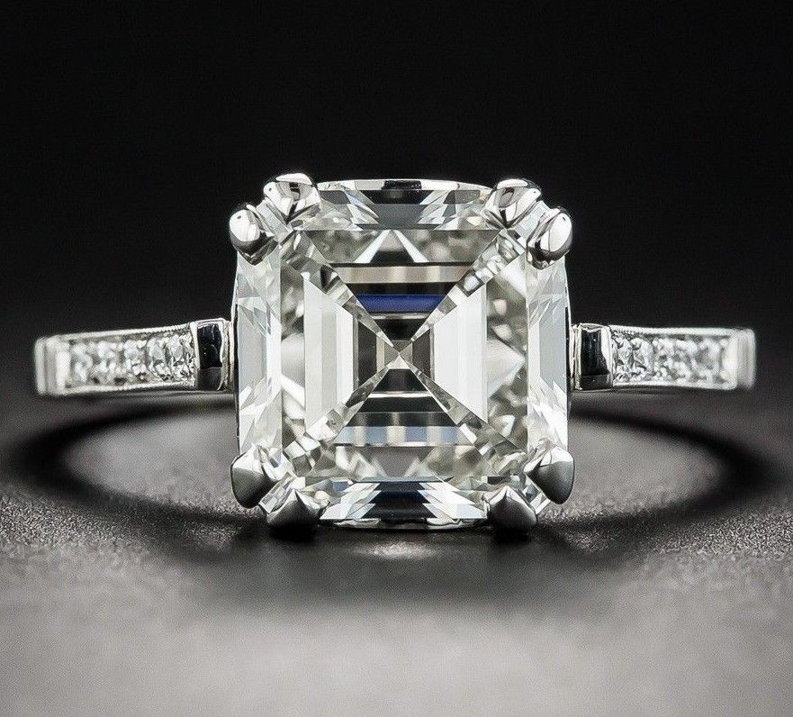 2.33 Ct Asscher Cut Near White Moissanite 10K White gold Engagement Ring