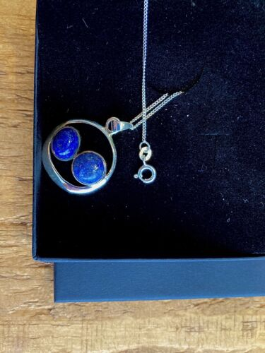 Lapis Lazuli 925 Silver Gemstone Pendant Necklace With Chain And Gift Box