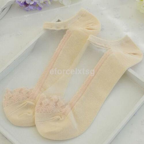 2pcs Women Lady Anklet Low Cut Short Socks Lace Transparent Crystal Ankle Socks