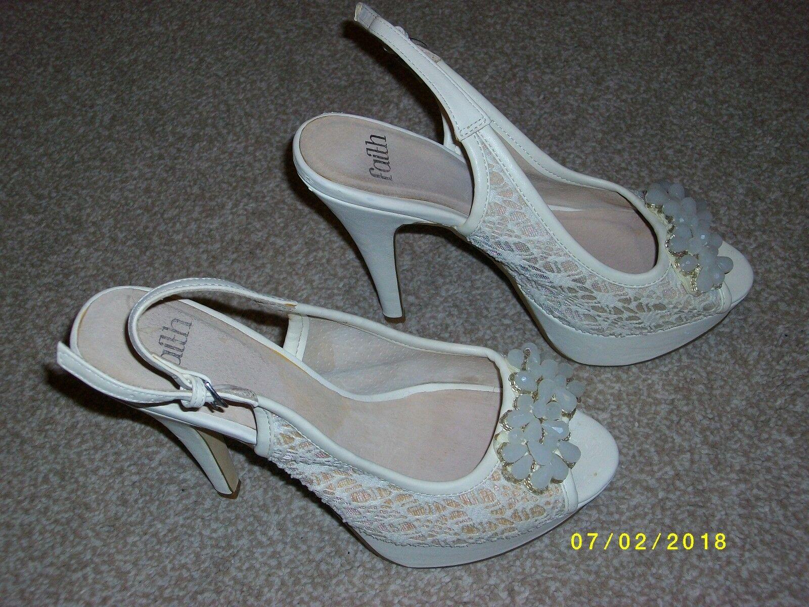 Moda jest prosta i niedroga Ladies Sling Back Beige Shoes Size 6 from Faith