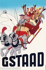 Switzerland Gstaad II European Winter Ski Europe Travel Advertisement Poster
