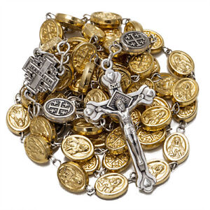 Religious-Rosary-Prayer-Beads-w-Crucifix-amp-St-Benedict-Medallion-23-034-58cm