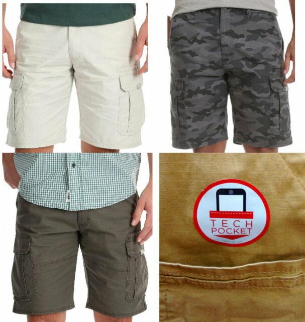 Khaki//Dark Putty Boys Adjustable Waist Wrangler Cargo Shorts