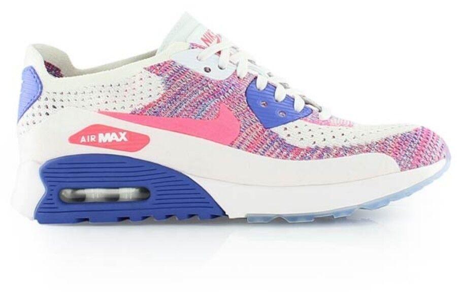 Nike Air Max 90 Ultra 2.0 Flyknit UK 6 Entièrement neuf dans sa boîte Blanc Racer Rose Bleu 881109 103