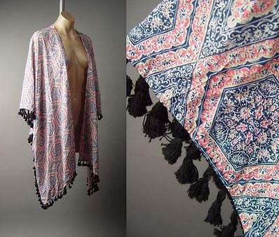 Moroccan Tile Tapestry Print Caftan Style Tassel Fringe Boho Wrap 138 mv Jacket