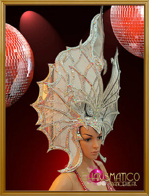 Elegant Silver mesh butterfly showgirl's headdress with mirrors and rhinestones