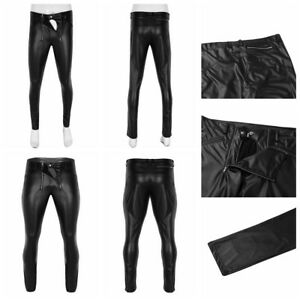 0c25c5236e Sexy Men's Faux Leather Casual Trousers Slim Fit Tight Zipper Pouch ...