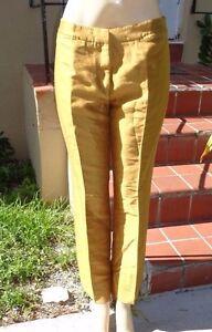 Made Renta casual La De 10 Pantaloni cotone Oscar Sz In Italy di dorato giallo in seta g4OUqnnwF