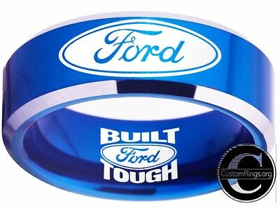 Ford Ring Ford Wedding Band 8mm Tungsten Gold and Silver Ring Sizes 4-17 #ford