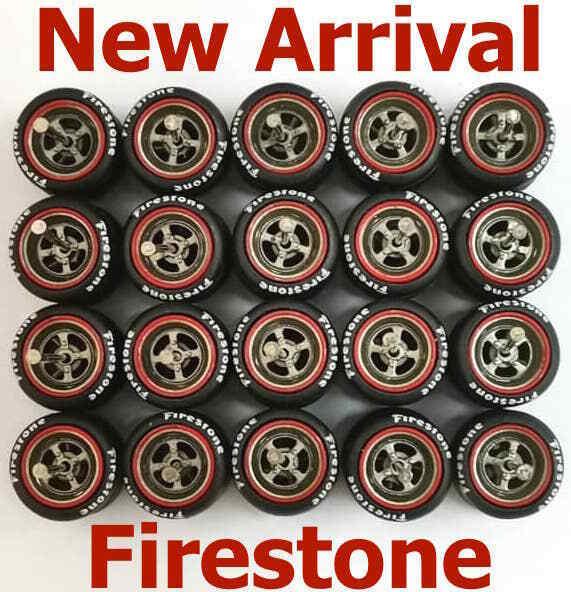 1:64 rubber tyre 4 spoke Gunmetal rim fit Hot Wheels diecast - 10 sets