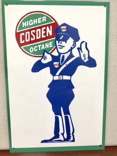 Cosden Higher Octane Gas Oils garage man cave Oil gasoline round metal  sign