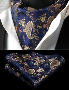 Men-Ties-Paisley-Floral-Ascot-Cravat-Woven-Silk-Necktie-Handkerchief-Set-Wedding