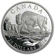2014 1 oz Proof Silver Canadian Bison - A Family at Rest - SKU #83415