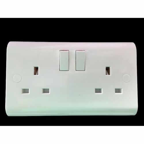 5 x UK Standard Double Switched Socket Plug Electrical 13A inc Screw Covers
