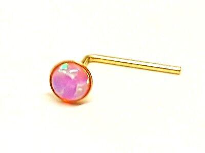 2.5 mm Piedras preciosas preciosas Para nariz oro 9K de ópalo rosa forma de L 0.6 MM 22g