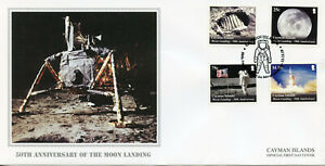 Cayman-Islands-Space-Stamps-2019-FDC-Moon-Landing-Apollo-11-50th-Anniv-4v-Set