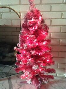 Pink PreLit Artificial Christmas Holiday Tree With Flocking 3 Ft Pink Lights