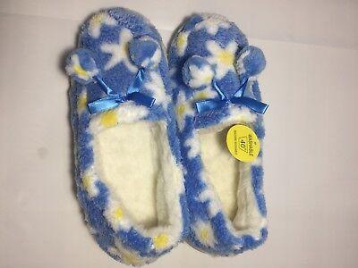 Señoras Nuevo Piel Flor Azul Zapatillas tamaño de Reino Unido 7