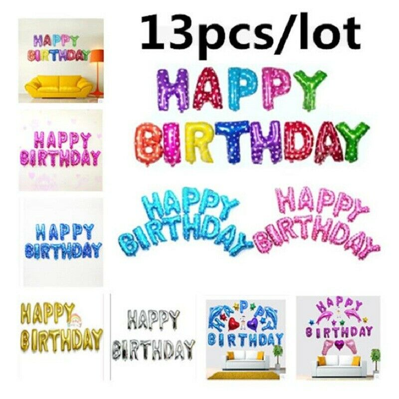 "Colorful Happy Birthday Balloons Banner Birthday Party Decorations 16/"" 13PCS Set"