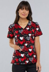 42f557a69fec9d Cherokee Women's Mock Wrap (Heart Healthy Awareness) Print Scrub Top ...