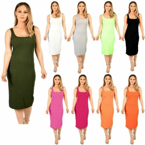 Womens Ladies Sleeveless Ribbed Plain Stretch  Bodycon Strappy Midi Summer Dress