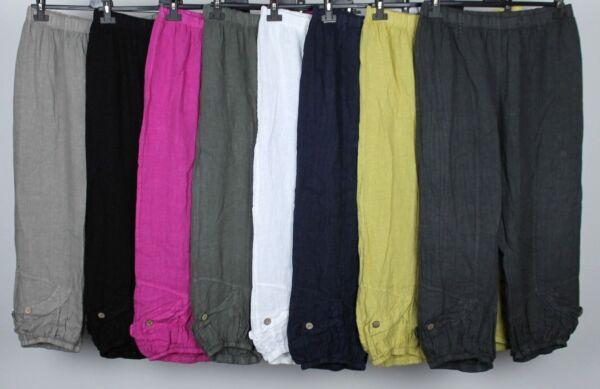 100% De Calidad Señoras MÁs TamaÑo Italiano En Capas Casual Boho Pantalones Bombachos Pantalones De Lino Cultivo-ver