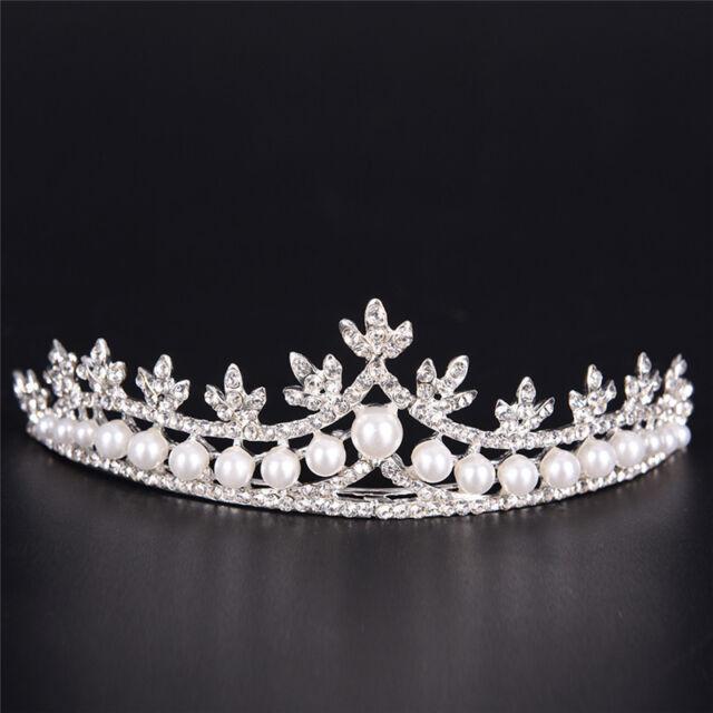 Pu Ran Retro Women Rhinestone Faux Pearl Tiara Crown Headband Wedding Bridal Jewelry Red