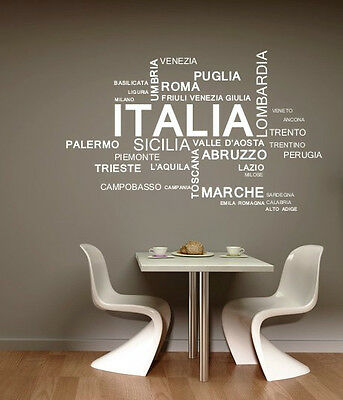 ITALIA ITALIAN LANGUAGE QUOTE WALL ART DECAL STICKERS VINYL ROOM BEDROOM