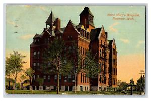 Vintage-View-of-Saint-Mary-039-s-Hospital-Saginaw-MI-1910-039-s-Postcard