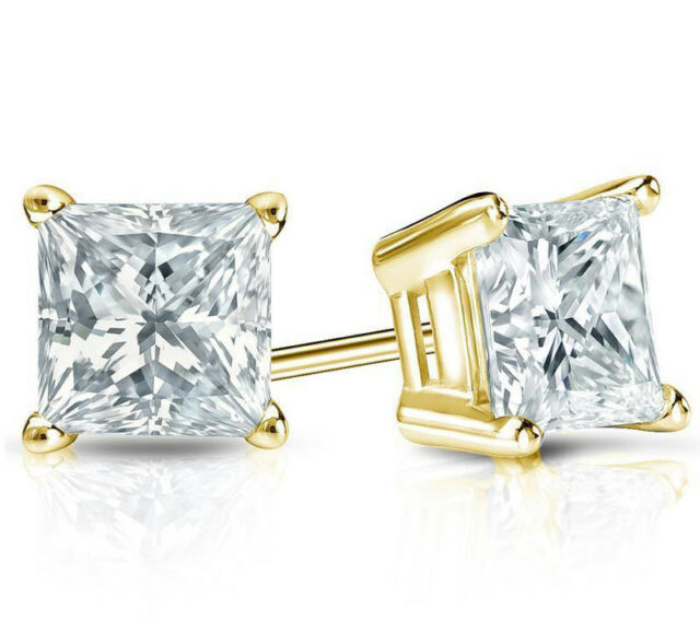 1 2 Ct Diamond Stud Earrings Princess Cut Solitaire 14k Yellow Gold