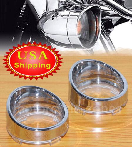 Chrome Trim Ring Visor-Style Turn Signal Bezels Clear Lens For Harley Sportster