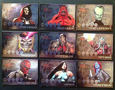 Marvel Heroes Villanos quería Cartel Completa Chase Juego De Tarjetas m1-m9