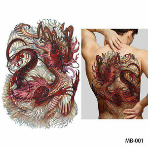 Details About Big Large Full Back Chest Chinese Red Dragon Tattoo Temporary Sticker Body Art