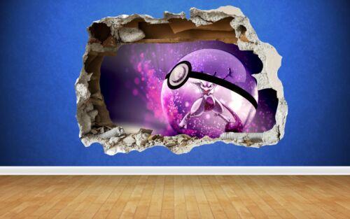Pokemon Go Mewtwo 3d Style Crushed Wall Sticker Children Bedroom Vinyl
