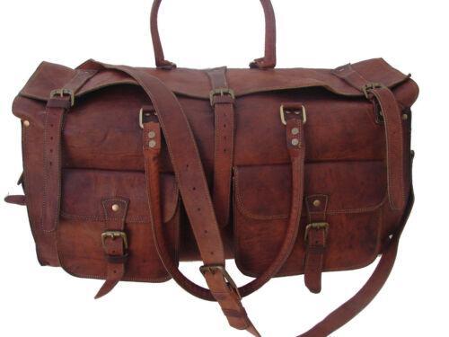 "26/"" Men/'s Brown Leather Vintage Duffle Gym Weekender Overnight Travel Bag"