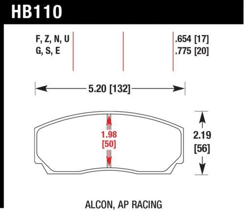 Hawk Performance HB110S.654 Designed For High Deceleration Rates Disc Brake Pads
