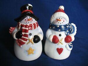 Christmas-Salt-and-Pepper-Shakers-Snowmen-Excellent-Set-Ceramic